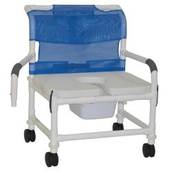 Model 126-4-NB-FSSS-DDA Bariatric Shower Chair with Pail and Droparms