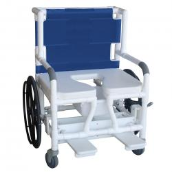 Model 140-26BAR-24W Bariatric Shower Commode Transfer Chair (shown with optional seat belt)