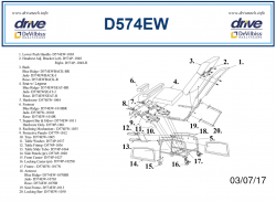 Bariatric Recliner D574EW-R Parts List